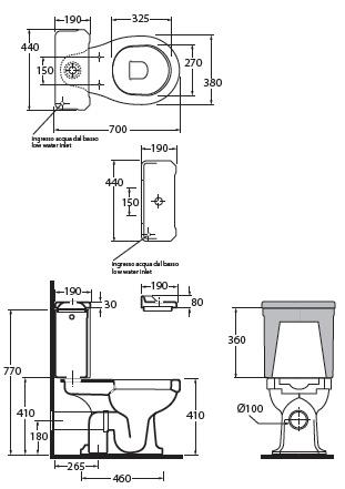 Vaso monoblocco giunone for Dimensioni water