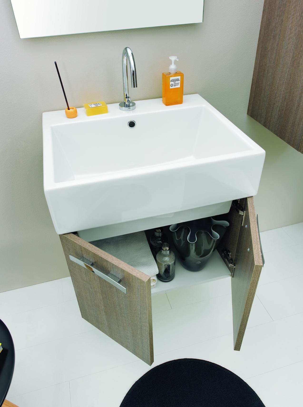 Mobile doppia anta con lavabo sospeso 75x50x41 vola - Lavabo sospeso con mobile ...