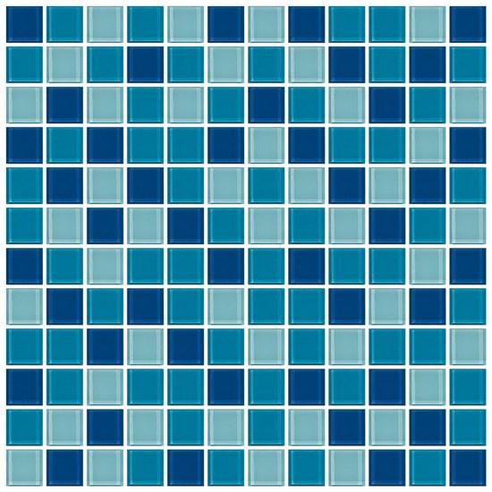 Mosaico crystal 4 mix blu marine - Mosaico blu bagno ...