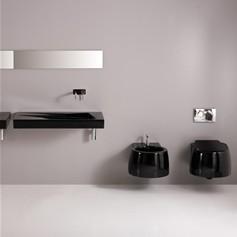 Bagno completo - Sanitari bagno sospesi neri ...