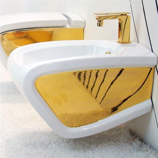 Bidet sospeso hi line bicolore bianco oro - Rubinetteria bagno bianco oro ...