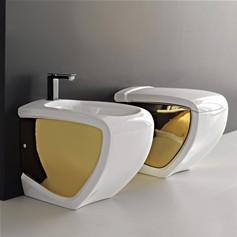 Sanitari bagno colorati - Rubinetteria bagno bianco oro ...
