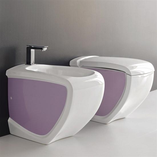 Sanitari a terra hi line bicolore bianco viola - Accessori bagno viola ...