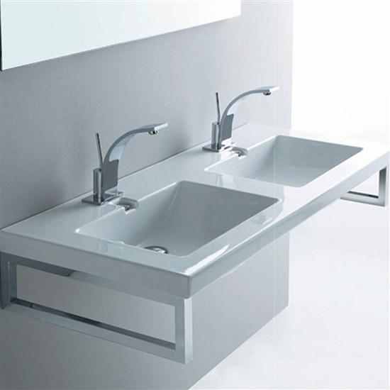 Lavabo doppia vasca a incasso 120 cm light - Vasca da bagno doppia ...