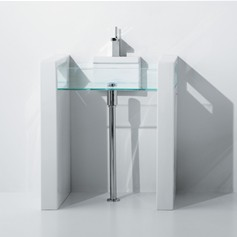 Lavabo 80 su colonna a parete Glass
