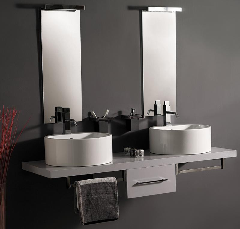 Top bagno con cassetto centrale - Arredo bagno grigio ...