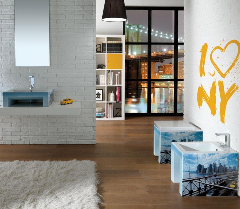Sanitari a pavimento con lavabo appoggio Metropolitan - New York