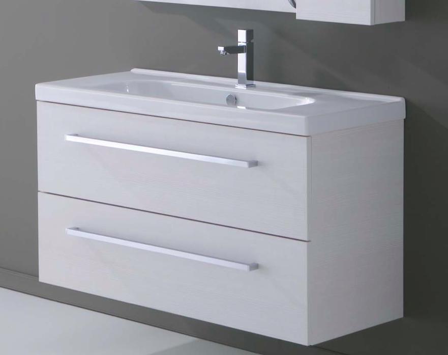 Mobile da bagno sospeso bianco rigato con lavabo minitrendy 81 for Lavabo con mobile