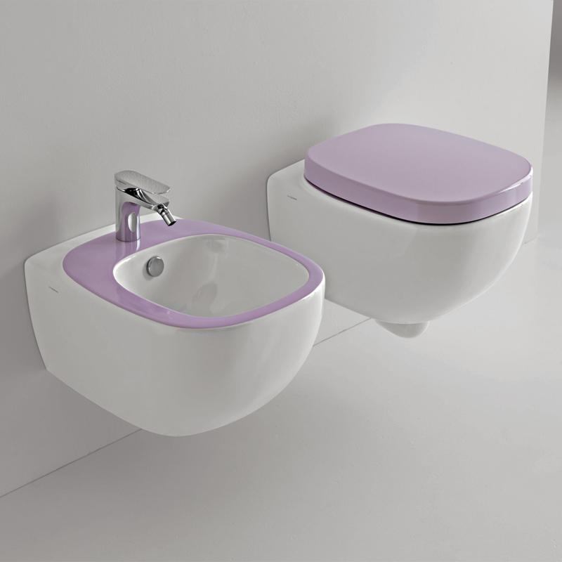 Sanitari sospesi dial bicolore bianco viola - Accessori bagno viola ...
