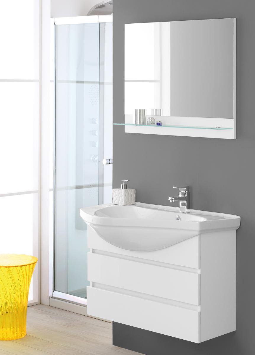 Composizione bagno laccato bianco for Arredo bagno sardegna