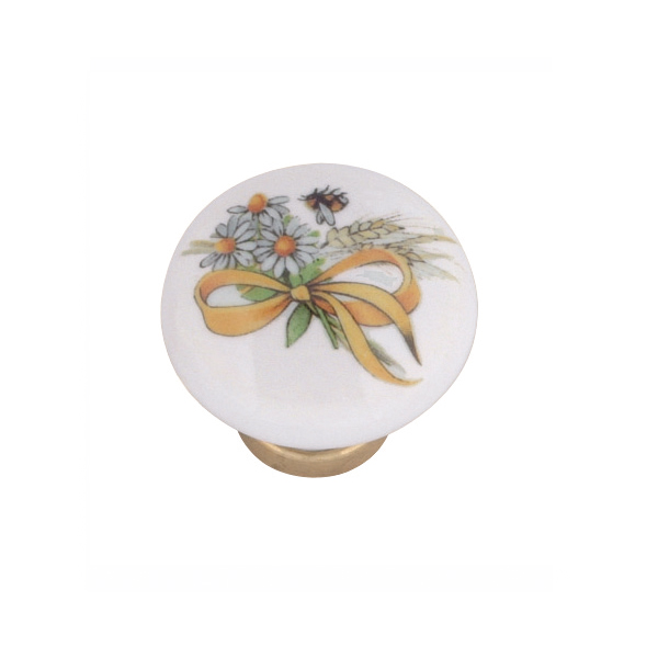 Pomello in ceramica ø31 con fiori, spiga e fiocco