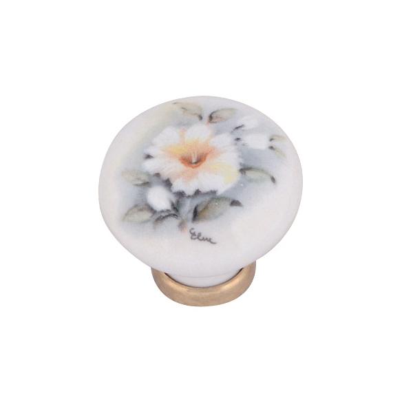 Pomello in ceramica ø31 con fiore