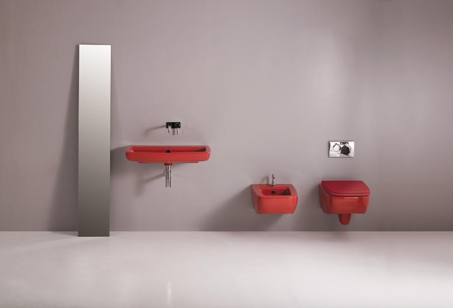 Lavabo sospeso 80 cm + sanitari lilac rossi