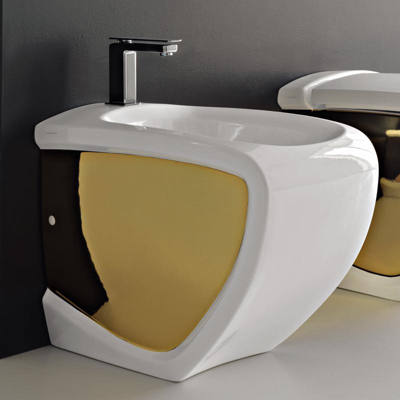 Bidet a terra hi line bicolore bianco oro - Rubinetteria bagno bianco oro ...