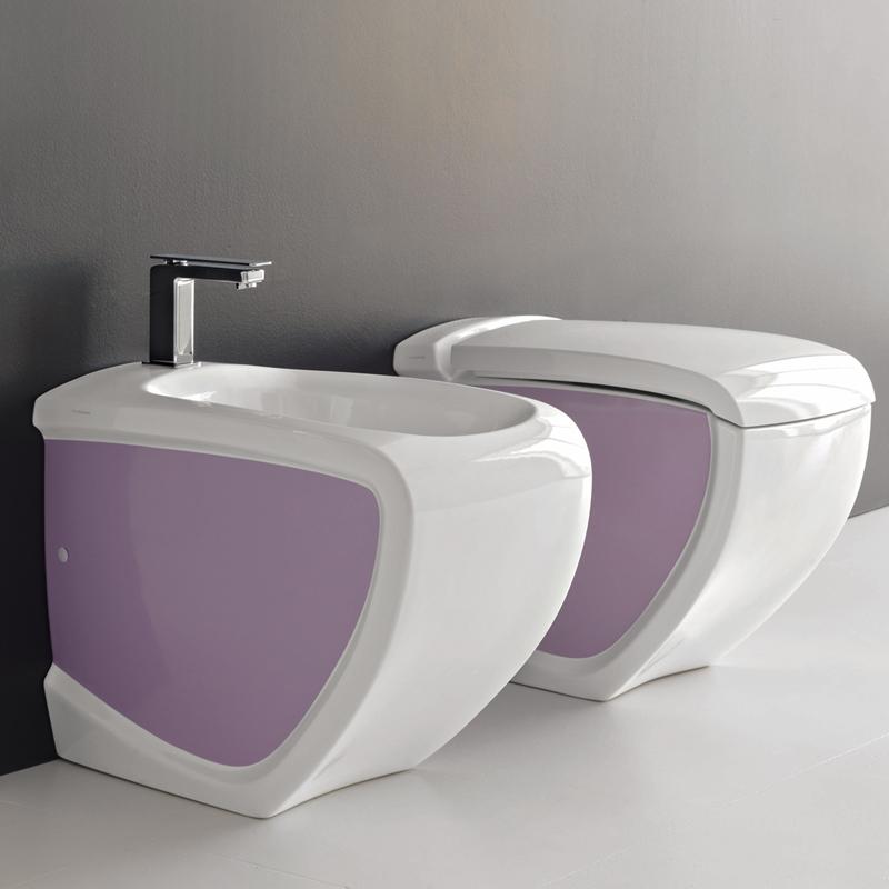 Sanitari a terra hi line bicolore bianco viola - Sanitari bagno filo muro ...