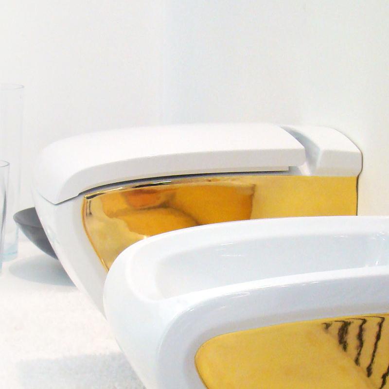 Vaso sospeso hi line bicolore bianco oro - Rubinetteria bagno bianco oro ...