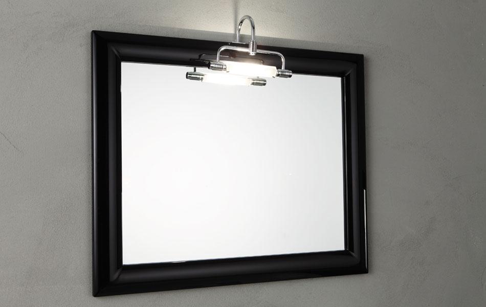 Mobile bagno sospeso Nero lucido ZEUS con specchio