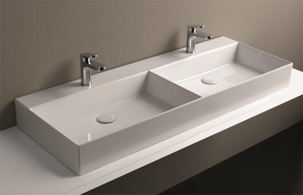 Lavabo da appoggio 2 vasche in ceramica 122x45x13h cm - Lavello bagno appoggio ...