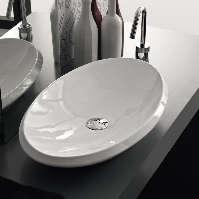 Lavabo appoggio oval for Lavabo da appoggio misure