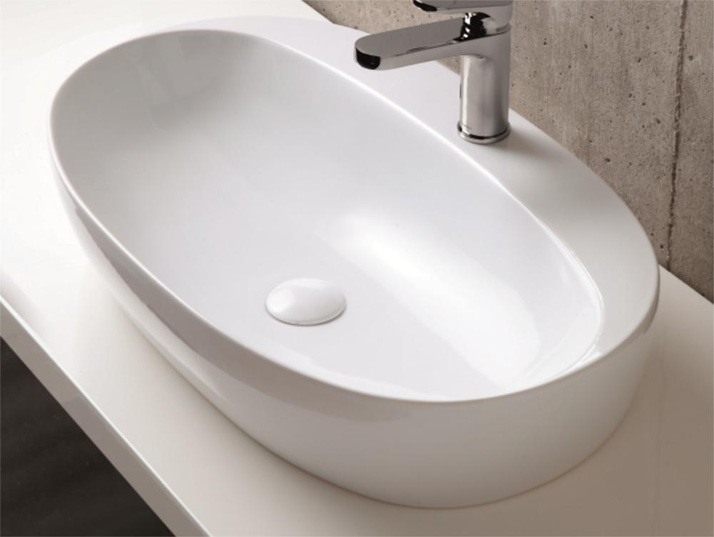 Lavandino da appoggio monoforo 70x42x14h cm for Lavandino bagno