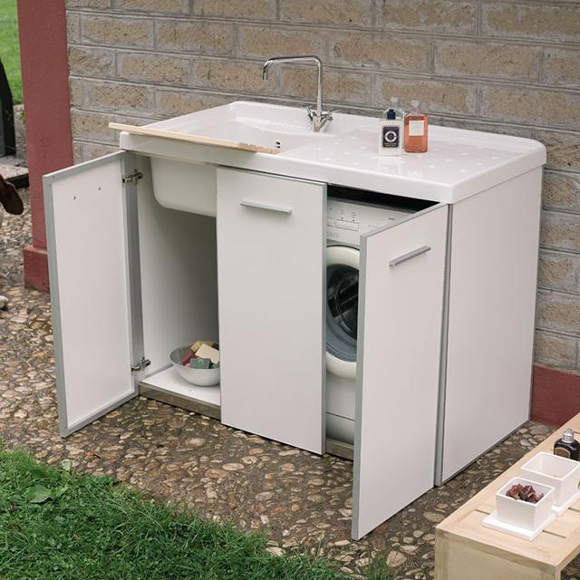 Lavatoio per esterno in out - Mobile coprilavatrice con lavatoio ...