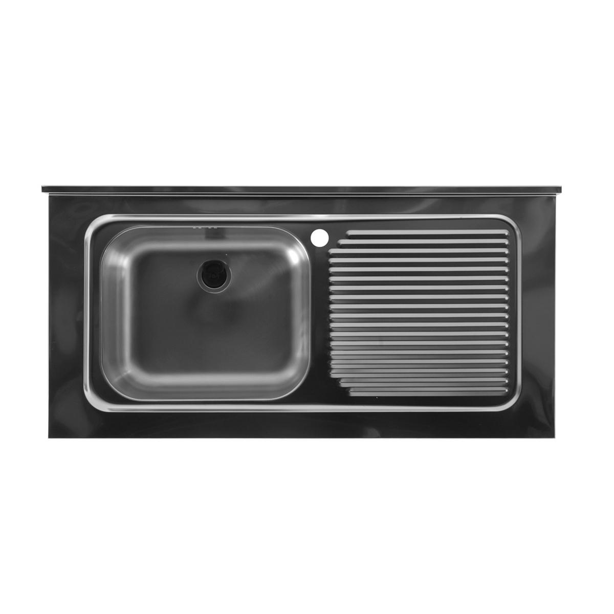 Lavello inox con vasca a sinistra 100x50