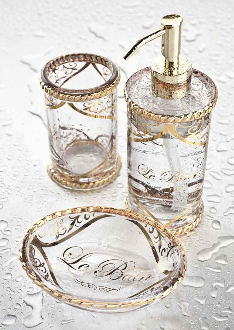 Set in vetro accessori le bain for Accessori bagno le bain