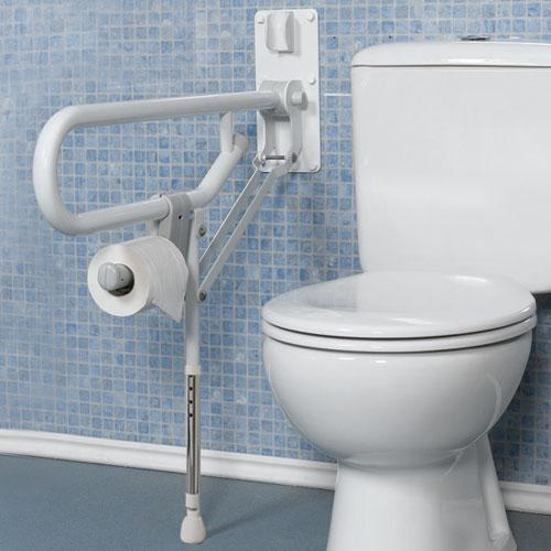 Maniglione ribaltabile con gamba e portarotolo - Maniglione disabili bagno ...
