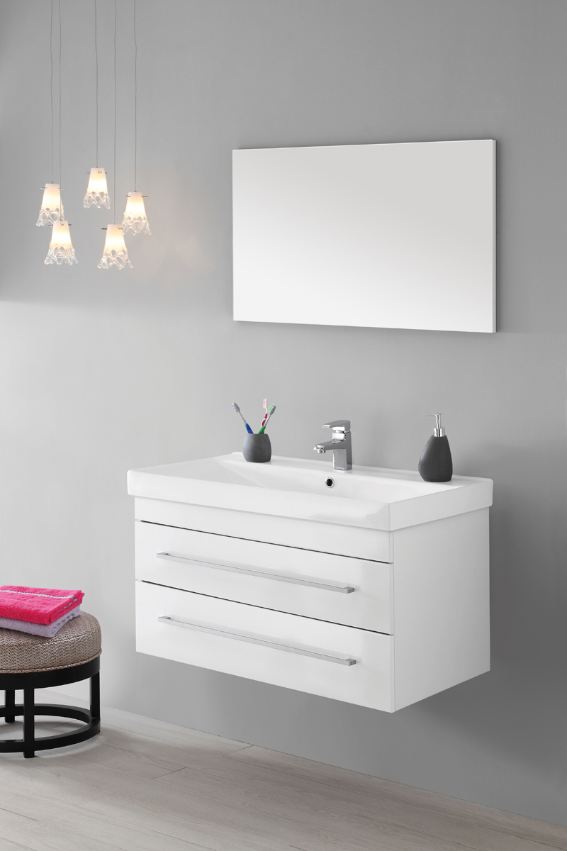Mobile bagno laccato bianco con specchio