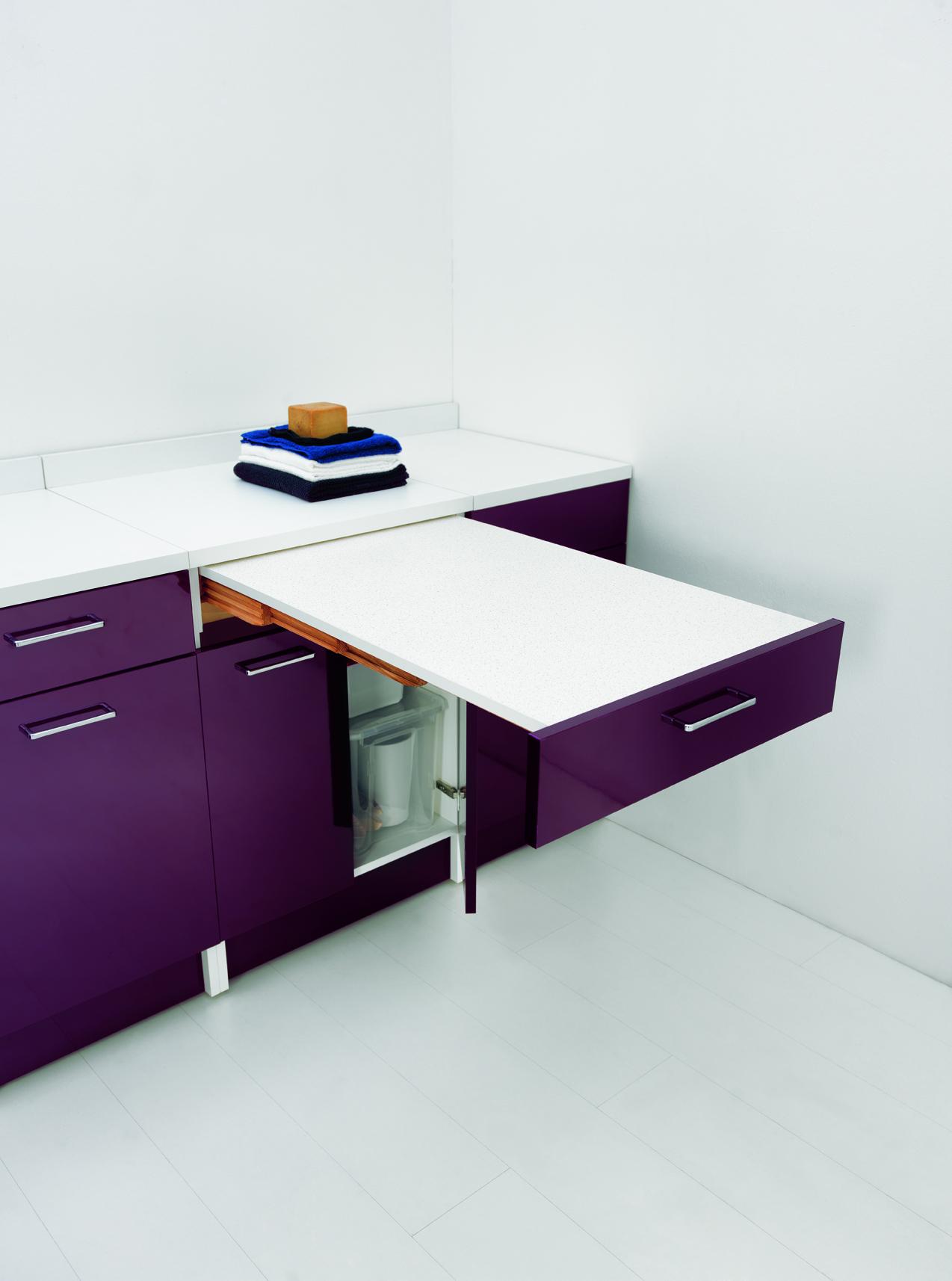 Mobile Con Tavolo Estraibile 60x60x86 Wash # Mobiletto Cucina Color Melanzana