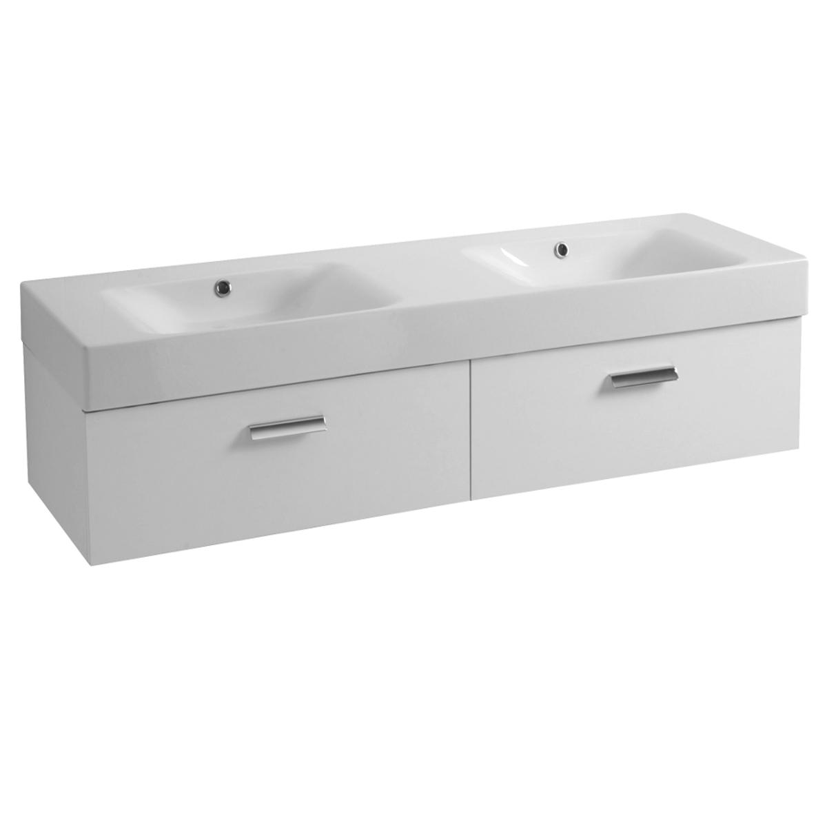 Mobile sospeso con due cassetti e lavabo doppia vasca - Lavabo sospeso con mobile ...