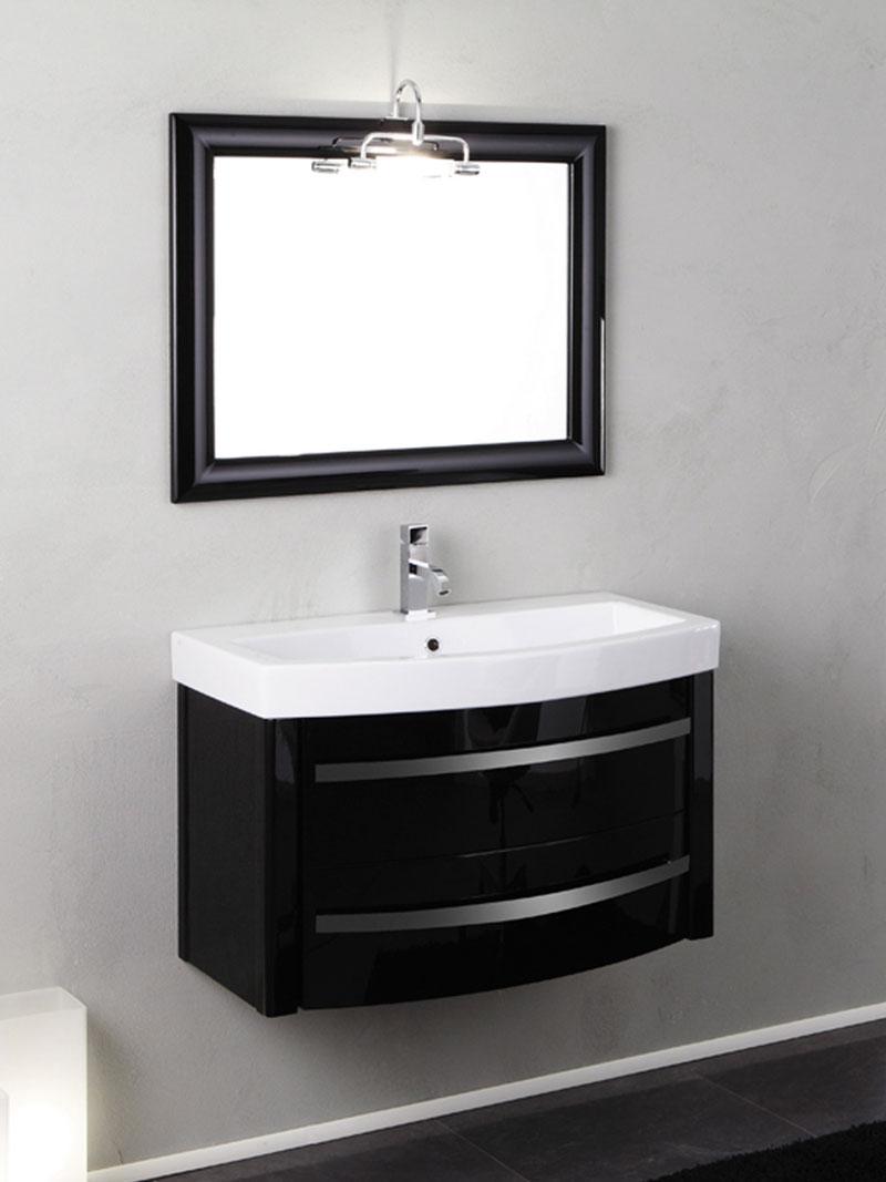 Mobile bagno sospeso nero lucido zeus con specchio - Mobile bagno nero lucido ...