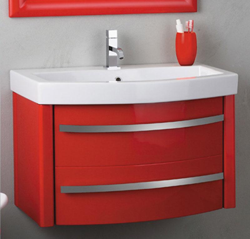 Mobile bagno con lavabo Zeus corallo lucido