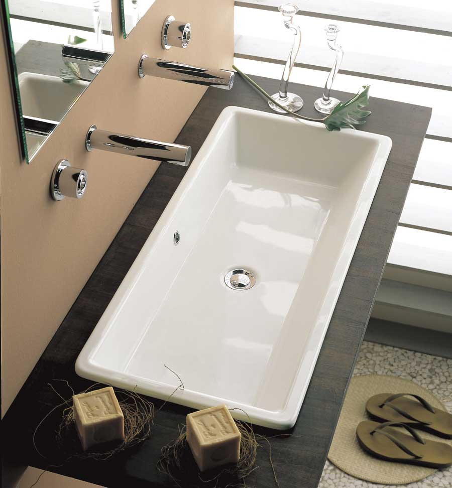 bathroom trough sink undermount lavabo gaia 80 16915