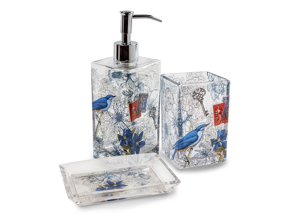 Set in vetro accessori bagno blu bird