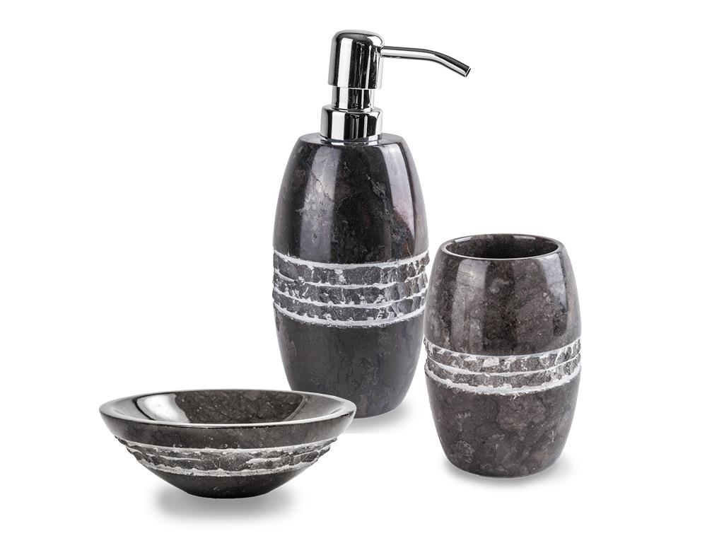 Set in marmo accessori bagno merapi nero