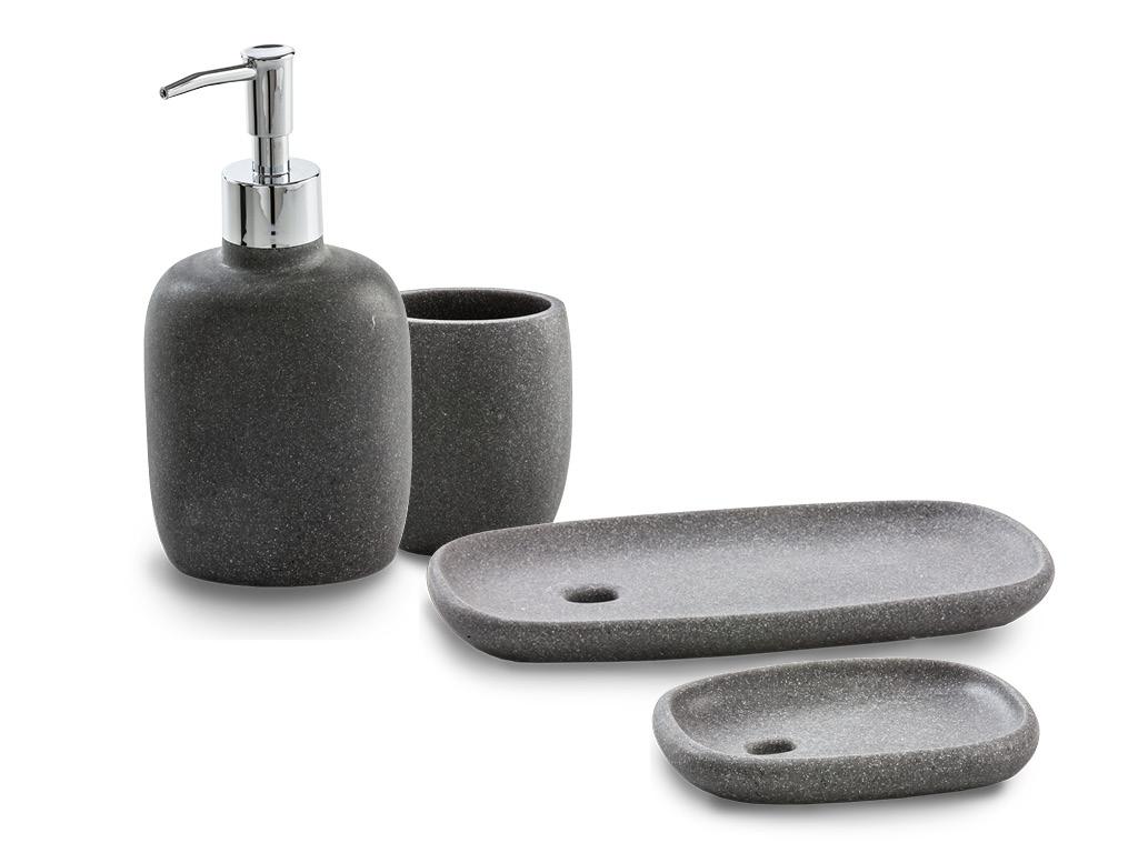 Set accessori bagno da appoggio colore fuxia cromo pezzi arredo