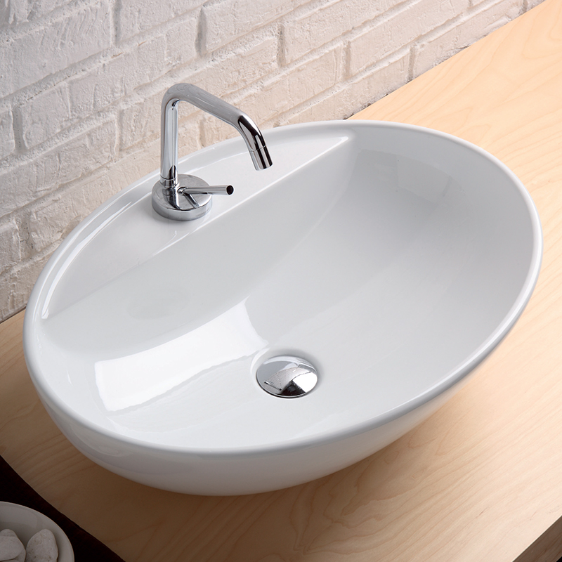 Lavabo softly 60x43 cm monoforo for Mobile per lavabo da appoggio