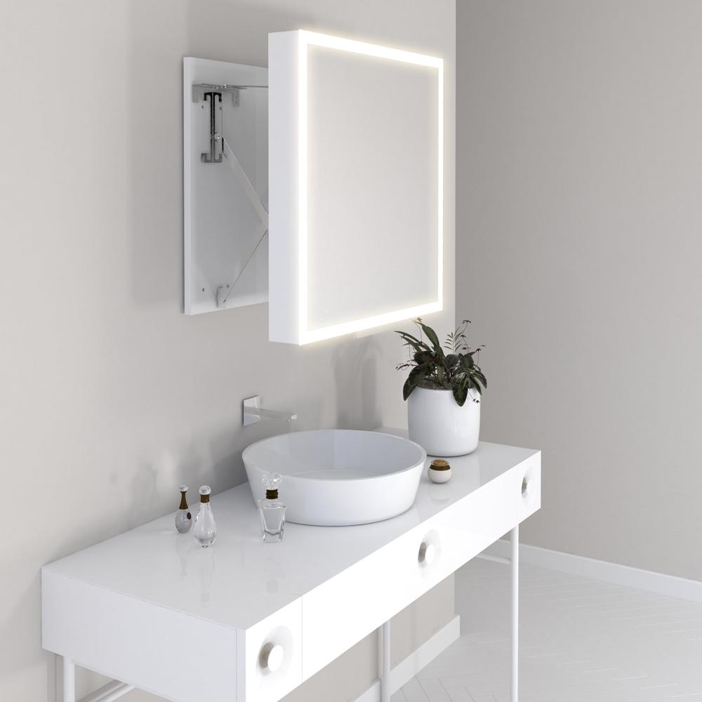 Specchio bagno semovibile con luce a led 58x58 cm