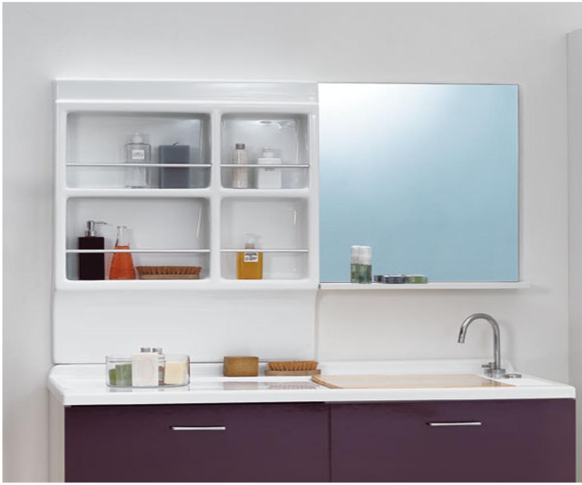 Specchio con mensola 60x14x70 jolly - Specchio con mensola bagno ...